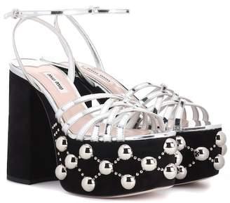 Miu Miu Embellished plateau sandals
