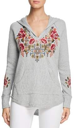 Johnny Was Axton Embroidered Waffle-Knit Hoodie