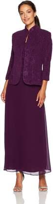 Alex Evenings Women's Petite Jacquard Knit Long Dress and Mandarin-Neck Jacket