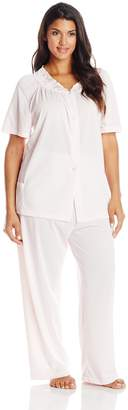 Shadowline Women's Plus-Size Petals Short Sleeve Pajama