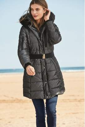 Next Womens Charcoal Long Belted Padded Coat