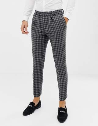 Asos Design DESIGN slim suit pants in 100% wool Harris Tweed in monochrome