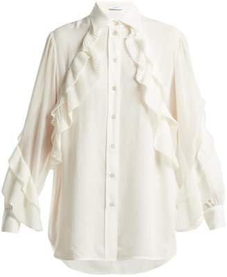 Givenchy Pleated-ruffle silk-blend blouse