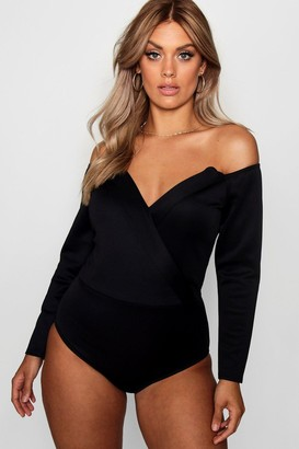 boohoo Plus Wrap Front Plunge Structured Bodysuit
