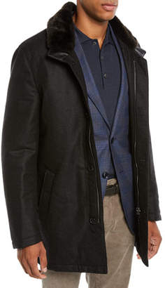 Mandelli Men's Car Coat with Fur Collar