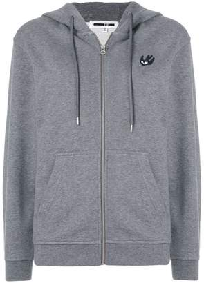 McQ Swallow patch front zipped hoodie