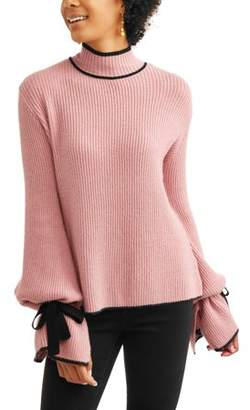 Thyme + Honey Women's Contrast Stitch Sweater with Tie-Sleeve Detail