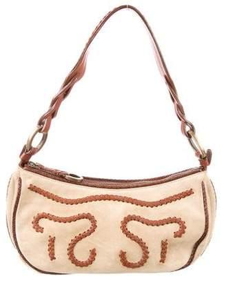Oscar de la Renta Leather-Trimmed Suede Shoulder Bag