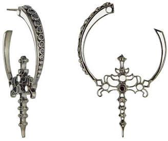 MCL by Matthew Campbell Laurenza White Enamel & Black Spinel Hoop Earrings