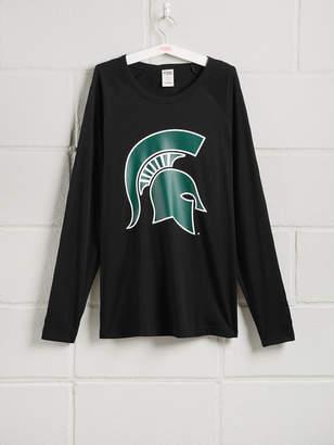 PINK Michigan State University Long Sleeve Grommet Campus Tee