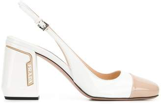 Prada two-tone patent leather pumps