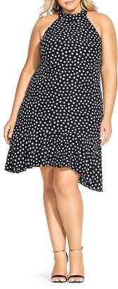 City Chic Plus Dot-Print Ruffle-Hem Dress