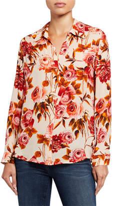 L'Agence Nina Long-Sleeve Rose-Print Blouse