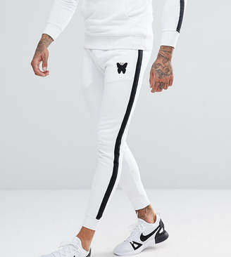 Asos Good For Nothing Skinny Joggers In White With Side Stripes Exclusive To