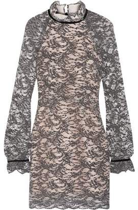 Rebecca Vallance Alexa Velvet-Trimmed Corded Lace Mini Dress