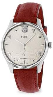 1064678141f at Saks Fifth Avenue · Gucci G-Timeless Stainless Steel Case 40MM Automatic  Silver Guilloché Dial Red Leather Watch