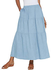 Denim & Co. Reg Stretch Chambray Tiered Pull-OnMaxi Skirt
