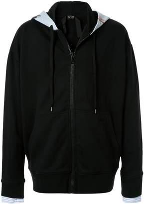 No.21 printed zip hoodie