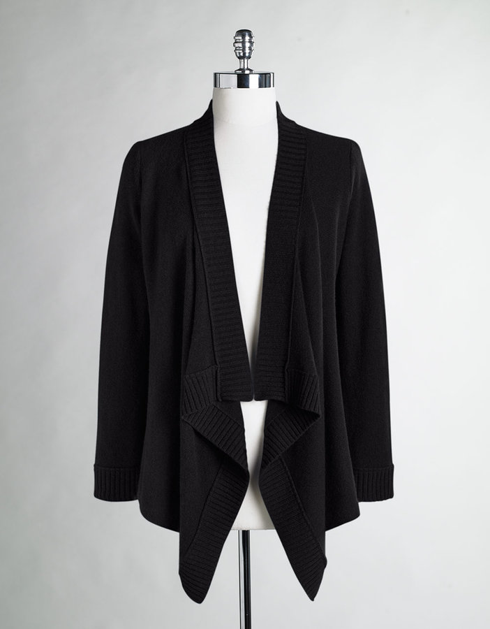 LORD & TAYLOR Cashmere Flyaway Wrap Cardigan Sweater