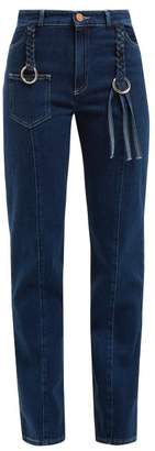 See by Chloe Braided Straight Leg Jeans - Womens - Blue