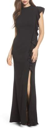 Adrianna Papell Ruffle Side Crepe Mermaid Gown