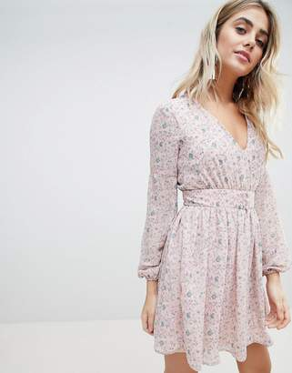 Missguided Floral Chiffon Dress
