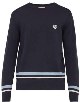 MAISON KITSUNÉ Jacquard Stripe Embroidered Logo Wool Sweater - Mens - Navy