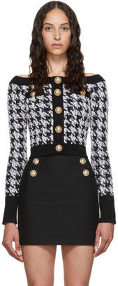 Balmain Black and White Off-The-Shoulder Cardigan