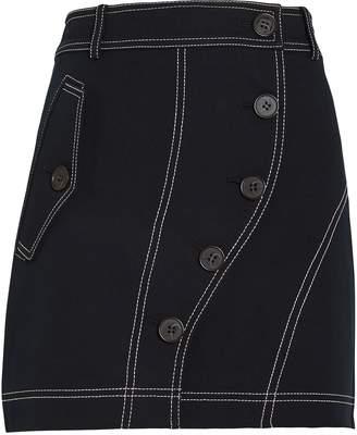 Derek Lam 10 Crosby Asymmetric Button Placket Mini Skirt