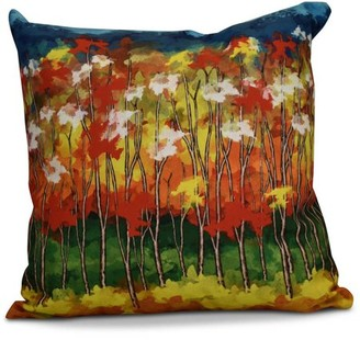 "E By Design Simply Daisy 16"" x 16"" Autumn Floral Print Pillow"
