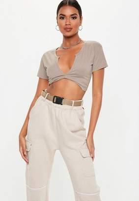 Missguided Grey Short Sleeve Twist Front Crop Top, Grey
