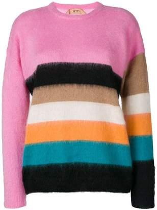 No.21 striped mohair-blend jumper