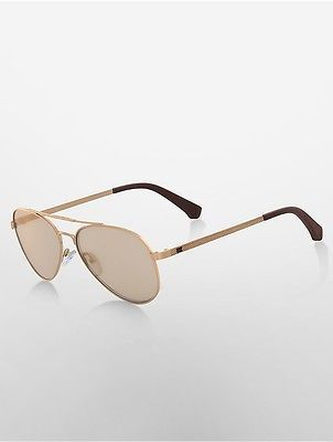 Calvin KleinCalvin Klein Womens Double-Bar Aviator Sunglasses Brushed Gold