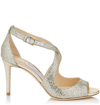 Jimmy Choo EMILY 85 Champagne Glitter Fabric Sandals