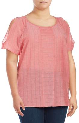Vince Camuto Women's Striped Short-Sleeve Cold-Shoulder Top - Tomato Red, Size 2x (18-20)