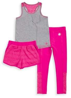 Body Glove Girl's Three-Piece Racerback Top, Stretch Shorts and Leggings Set