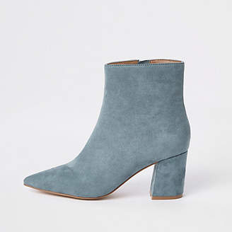 River Island Womens Light blue pointed block heel boots