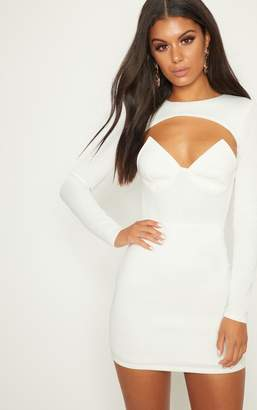 e300af943e at PrettyLittleThing · PrettyLittleThing White Long Sleeve Plunge Cut Out  Detail Bodycon Dress