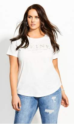 City Chic French Love Tee - ivory