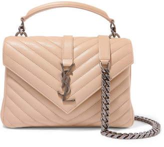Saint Laurent College Medium Quilted Leather Shoulder Bag - Beige
