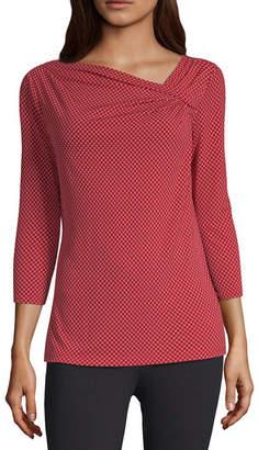 Liz Claiborne Womens Asymmetrical Neck Long Sleeve Knit Blouse