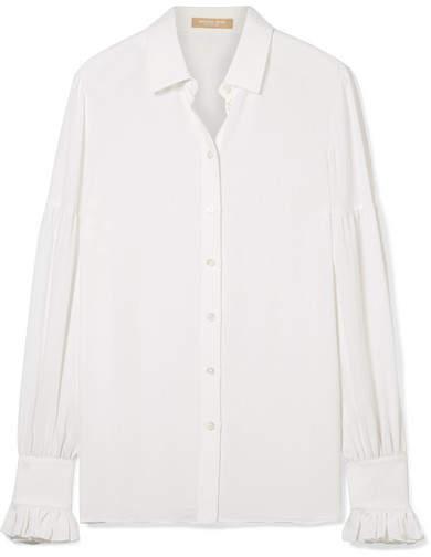 Michael Kors Collection - Ruffled Silk Crepe De Chine Shirt - White