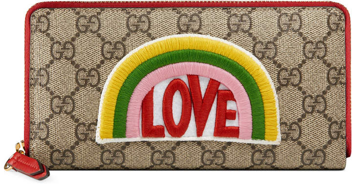Gucci Rainbow soft GG Supreme zip around wallet