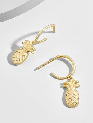 BaubleBar Ananas 18K Gold Plated Huggie Hoop Earrings