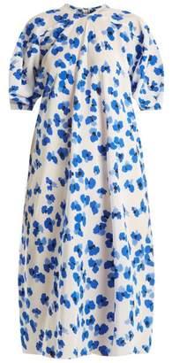 Lemaire Floral-print curved-sleeve silk midi dress