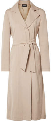 Akris Teri Belted Cotton And Silk-blend Coat - Beige