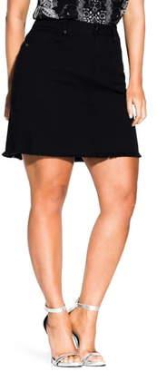 City Chic Frayed High Waist Denim Skirt