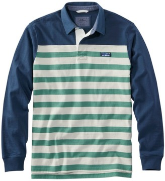 L.L. Bean L.L.Bean Men's Lakewashed Rugby, Traditional Fit Long-Sleeve Engineered Shoulder Stripe