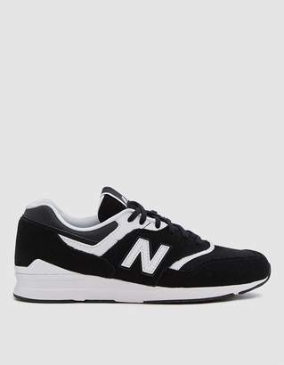 New Balance Leather 697 Sneaker in Black/White