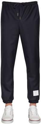 Thom Browne Logo Patch Wool Twill Track Pants